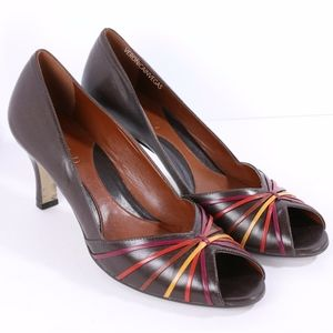 MICHELLE D BROWN LEATHER PEEP TOE HEEL SIZE 8
